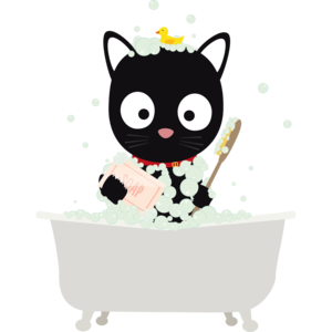 Bathing Cat In A Bath Tub