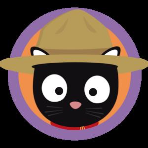 Park Ranger Cat In Purple Circle