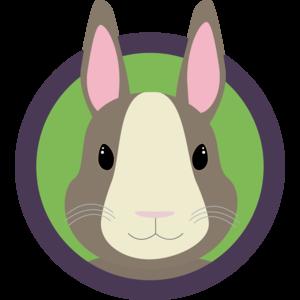 Cute Rabbit Head With Purple Cirlcle