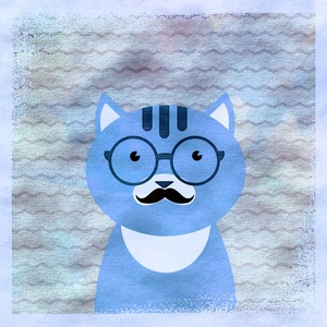 Hipster Cat With Glasses