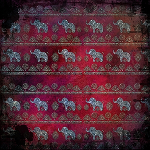 Folklore Elephant Pattern On Red