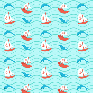 Dolphins Boats Pattern