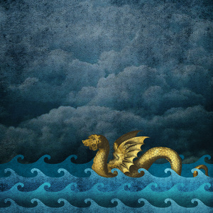 Gold Sea Monster On Blue 1