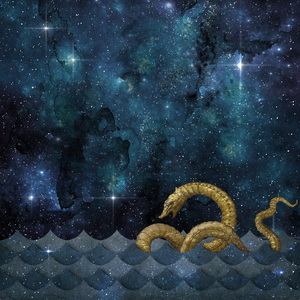 Gold Sea Monster On Blue 2
