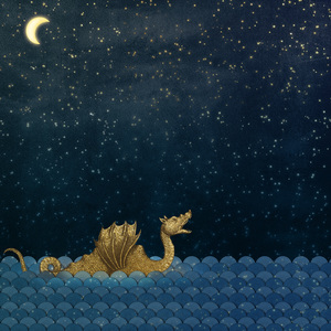 Gold Sea Monster And Moon