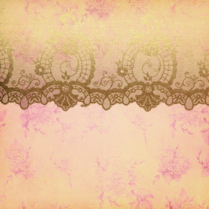Gold Luxury Floral Lace On Pink Damask
