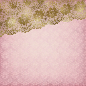 Gold Luxury Floral Lace On Wood