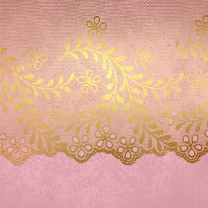 Gold Luxury Floral Lace On Pink Damask 2