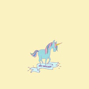 Unicorn Fairy Tale Mythic Pony Horse On Yellow