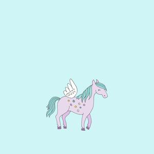 Unicorn Fairy Tale Mythic Pony Horse On Blue