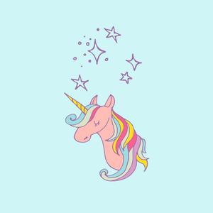 Unicorn Fairy Tale Mythic Pony Horse On Blue 2