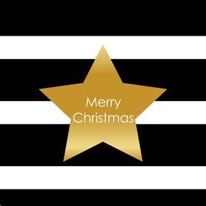 Merry Christmas Star On Black White Stripes