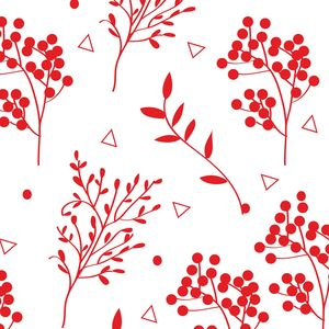 Red Floral Pattern On White