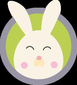 Cute Rabbit Head With Blue Circle