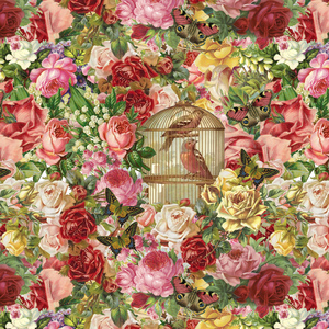 Rose Pattern With Bird Cage