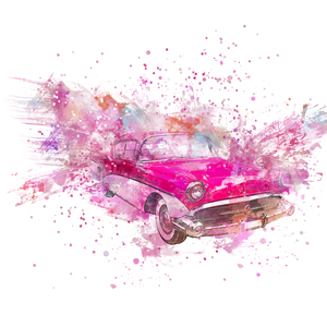 Pink Retro Car Watercolor Art