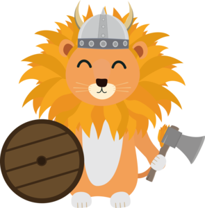 Lion Viking With Helmet