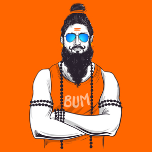 Traditional Baba In Western Avatar On Orange