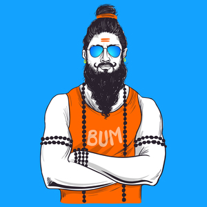 Traditional Baba In Western Avatar On Blue