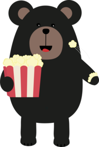 Black Bear Eating Popcorn