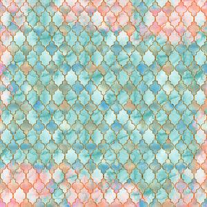 Aqua Pink And Gold Oriental Pattern