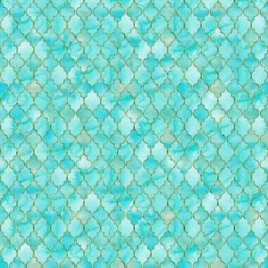 Luxury Aqua And Gold Oriental Pattern 2