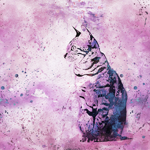 Purple Watercolor Cat Art
