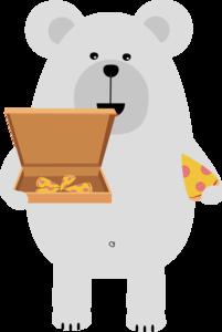 Polar Bear Eating Pizza