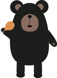 Black Bear With Chicken Leg