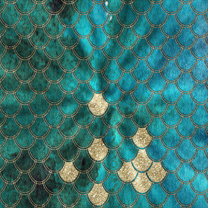 Mermaid Scales In Gold On Aqua