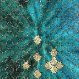 Mermaid Scales In Gold On Aqua