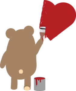 Brown Bear Painting Heart