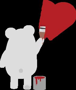 Polar Bear Painting Heart