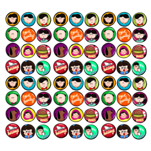 Multicolor Crazy Family Badges