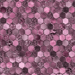 Fiery Pink Geometric Hexagonal