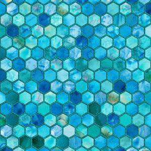 Aqua Geometric Hexagonal