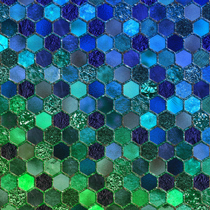 Blue Green Geometric Hexagonal