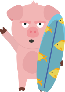 Surfin Pig With Surfboard