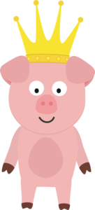 Pig King With Crown