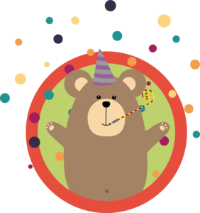 Party Bear With Spots In Cirlce