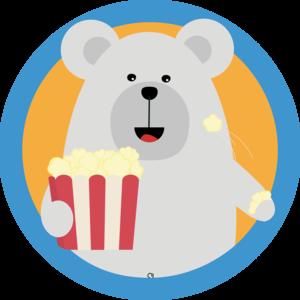 Polar Bear Eating Popcorn With Circle