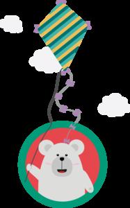 Polar Bear With Kite In Cirle