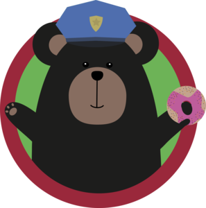 Police Officer Grizzly With Pink Donut