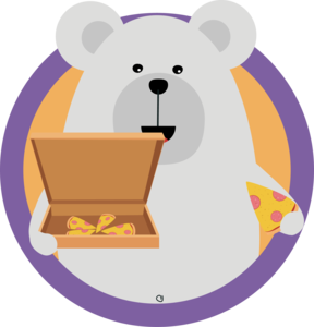Polar Bear With Pizza In Cirlce