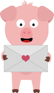 Cute Pig With Love Letter