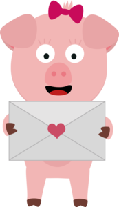 Female Pig With Love Letter