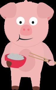 Kawaii Pig Eating Rice