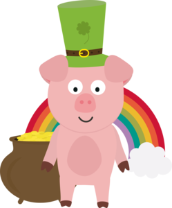 Pig With Patricks Day Hat