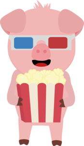 Cinema Pig With Popcorn
