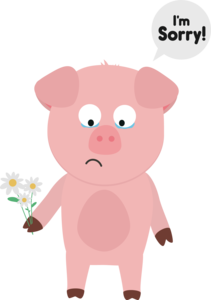 Pig Apologize With Flowers